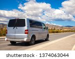 minibus on the road. commercial ... | Shutterstock . vector #1374063044