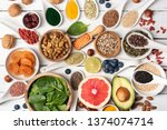 superfood powder  berries and... | Shutterstock . vector #1374074714