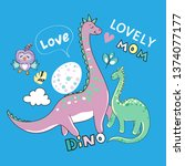 cute dinosaurs mom with a child ... | Shutterstock .eps vector #1374077177