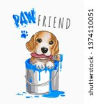 paw friend slogan with cute dog ... | Shutterstock .eps vector #1374110051