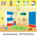 children's room in the house | Shutterstock .eps vector #1374122141