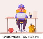 student or schoolboy studying... | Shutterstock .eps vector #1374136541