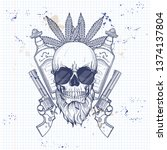 hand drawn sketch  skull with ... | Shutterstock .eps vector #1374137804