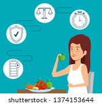woman eating fruits and... | Shutterstock .eps vector #1374153644
