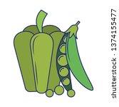 fresh vegetables food blue lines | Shutterstock .eps vector #1374155477
