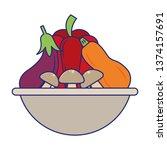 fresh vegetables food blue lines | Shutterstock .eps vector #1374157691