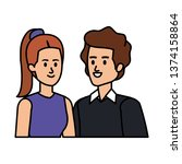 young couple avatars characters | Shutterstock .eps vector #1374158864