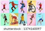 Small photo of Sport collage about athletes or players. The tennis, running, badminton, rhythmic gymnastics, volleyball, boxing, snowboarding, ice hockey, soccer football, cycling concept. Fit women and men in