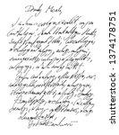hand written fake letter  with... | Shutterstock .eps vector #1374178751