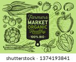 vegetables and fruits... | Shutterstock .eps vector #1374193841