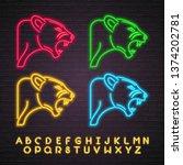 jaguar icon set neon light... | Shutterstock .eps vector #1374202781