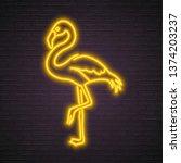 flamingo neon yellow light... | Shutterstock .eps vector #1374203237