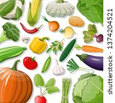 big vegetable isolated icon set.... | Shutterstock .eps vector #1374204521