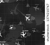 detailed black and white radar... | Shutterstock . vector #1374210767