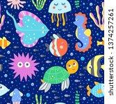 sea animals and ocean creatures ... | Shutterstock .eps vector #1374257261