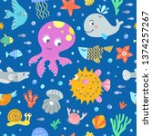 octopus and fishes underwater... | Shutterstock .eps vector #1374257267