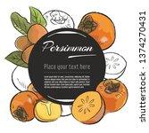 vector sketch persimmon banner... | Shutterstock .eps vector #1374270431
