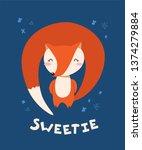 sweet little red fox smiling.... | Shutterstock .eps vector #1374279884