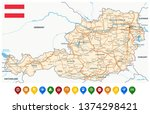 austria map and colored map... | Shutterstock .eps vector #1374298421