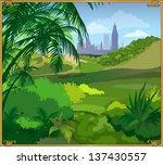 beautiful landscape with green... | Shutterstock .eps vector #137430557