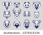 animals head mascot icons... | Shutterstock .eps vector #1374315134