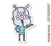 distressed sticker of a happy...   Shutterstock . vector #1374329207