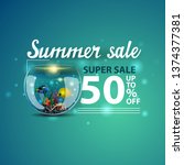 summer sale  modern blue 3d web ... | Shutterstock .eps vector #1374377381