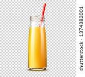 realistic orange juice bottle...   Shutterstock .eps vector #1374382001