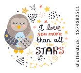 poster with birds  stars and... | Shutterstock .eps vector #1374382511