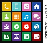 Mobile Phone Icons: Colorful Style - stock vector