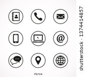 contact us icons. web icon set | Shutterstock .eps vector #1374414857