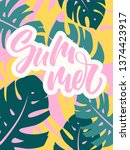 colorful summer poster with... | Shutterstock .eps vector #1374423917