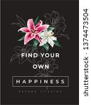 happiness slogan with lily... | Shutterstock .eps vector #1374473504