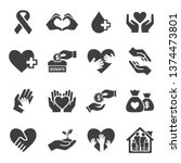 charity and donation icons set | Shutterstock .eps vector #1374473801