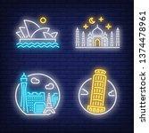 landmarks neon sign set. pisa ...   Shutterstock .eps vector #1374478961