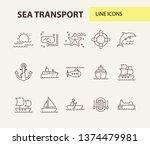 sea transport line icon set....   Shutterstock .eps vector #1374479981