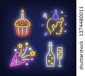 celebration neon sign set.... | Shutterstock .eps vector #1374480011