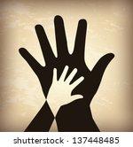 hand shadow over vintage... | Shutterstock .eps vector #137448485