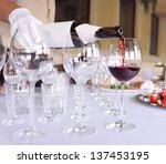 tableware  glasses of wine.
