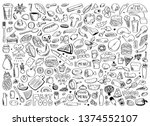hand drawn set of healthy food... | Shutterstock .eps vector #1374552107