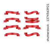 red ribbons set. vector design... | Shutterstock .eps vector #1374563921