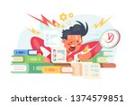 young student before exams... | Shutterstock .eps vector #1374579851