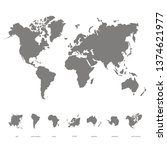 vector icon with world map and... | Shutterstock .eps vector #1374621977