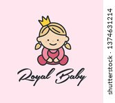 vector icon royal baby. girl... | Shutterstock .eps vector #1374631214