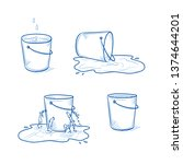 set of four buckets. full and... | Shutterstock .eps vector #1374644201