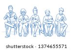 group of five people sitting in ... | Shutterstock .eps vector #1374655571