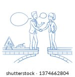 two happy business people... | Shutterstock .eps vector #1374662804