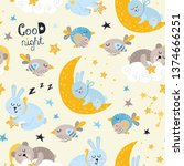seamless pattern for boys with... | Shutterstock .eps vector #1374666251