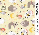 seamless pattern for girls with ... | Shutterstock .eps vector #1374666254