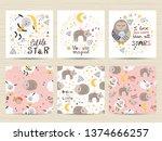set of cards for small girls | Shutterstock .eps vector #1374666257